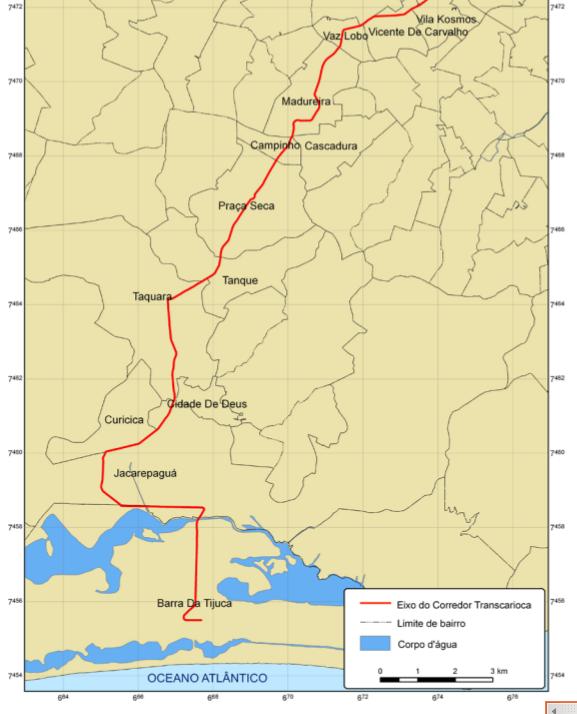 Mapa Eixo Sul da Transcarioca