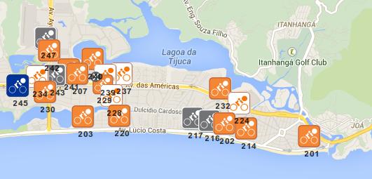 Mapa das estações do Bike Rio na Barra