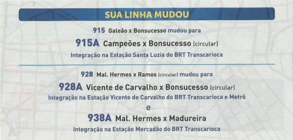 Cartaz anunciando o fim das linhas 915 e 928