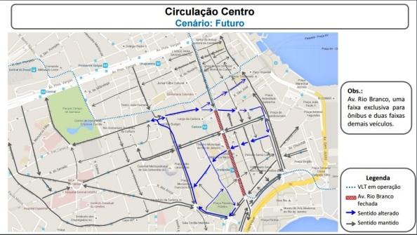 Configuração das mãos das ruas do Centro do Rio a partir de 14/05