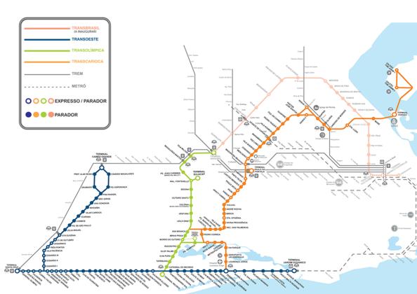 Mapa atualizado dos transportes do Rio (retirado de BRT Rio)